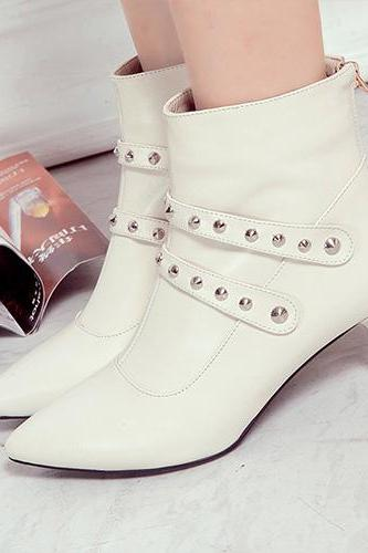 Fashion Rivets Pointed Toe Martin Boots Booties