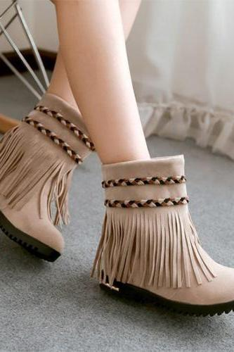 Fashion Round Toe Flat Heel Tassels Boots Booties