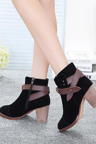 Fashion Thick High-Heeled Round Toe Belt Buckle Martin Booties