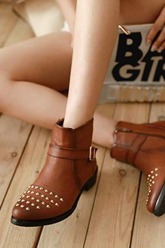 Punk Style Rivets Pointed Toe Ankle Boots Booties