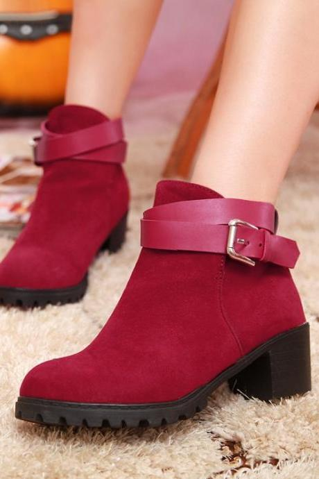 Chunky Heel Buckle Design Red Ankle Boots