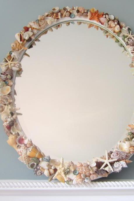 Beach Decor Seashell Mirror - Nautical Decor Natural Shell Mirror, Round 32in