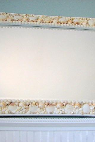 Beach Decor Seashell Mirror - Nautical Decor Shell Mirror, Customized Lg Rectangular