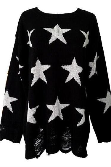 New Fashion Black star Hollow Out Halter Irregular Sweater