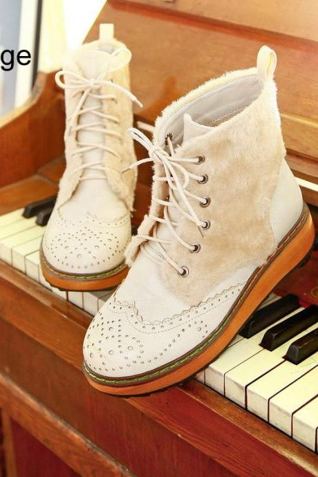Winter Boots Lace Hollow Wooden Bottom Platform Shoes Simple Shoes