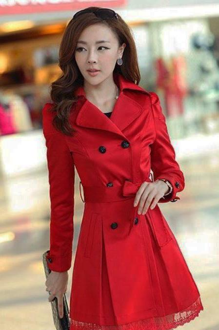 Long Red Trench Coat Lace for Women-Red Blazer Red Jacket Trench Coats