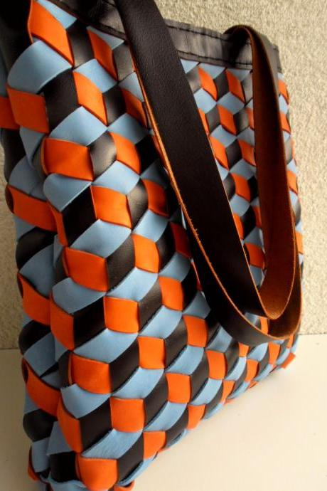 Brown Leather Bag,Blue,BlackLeather Tote,Black, Brown Leather Tote Bag - 3d Woven Leather Bag - Supple Brown Leather Bag,Brown Leather Tote