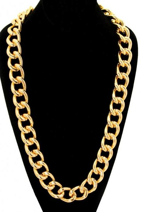 Chunky Gold Curb Chain Necklace, Unisex Urban Jewelry, 30' long