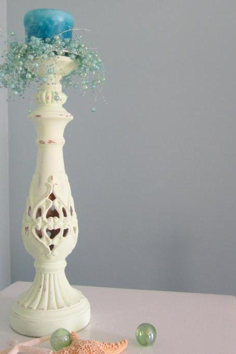 Beach Decor Candlestick - Nautical Cottage Shabby Chic Candle Stick, Light Apple Green