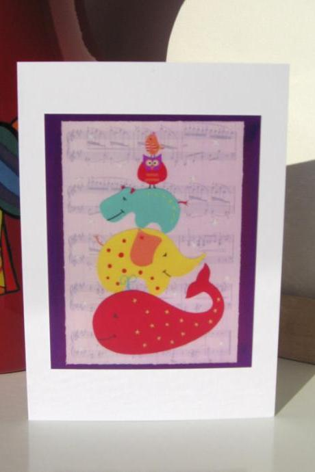 Greeting Card - Animal Musical Statues