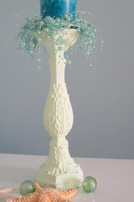 Beach Decor Candlestick - Nautical Cottage Shabby Chic Candle Stick , Light Apple Green