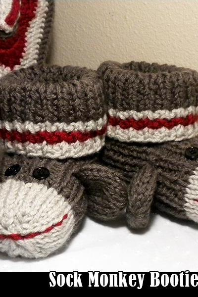 Sock Monkey Booties for Adults Knitting Pattern