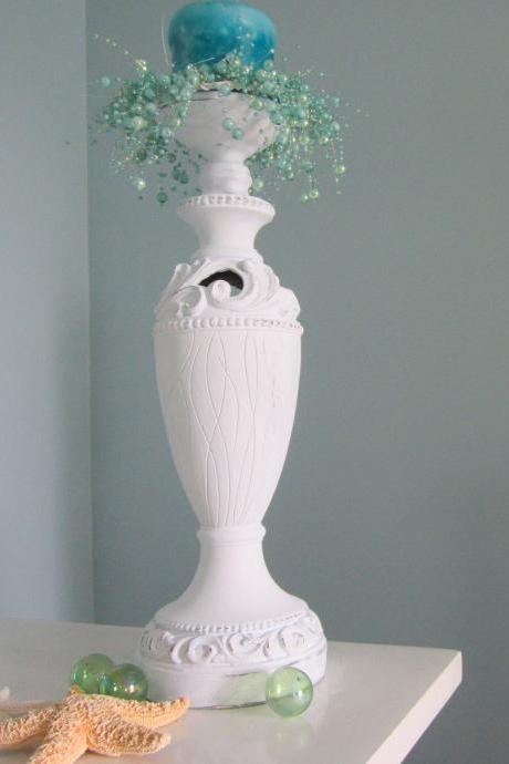 Nautical Decor Candlestick - Beach Decor Cottage Shabby Chic Candle Stick , Distressed White