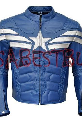 Handmade Chris Evan Captain America Costume Pure Leather Biker Jacket Paded