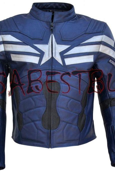 Handmade New Chris Evan Captain America Costume Pure Leather Biker Jacket Paded