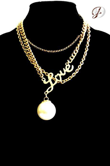 Gold Charm Necklace, Love Pendant Necklace