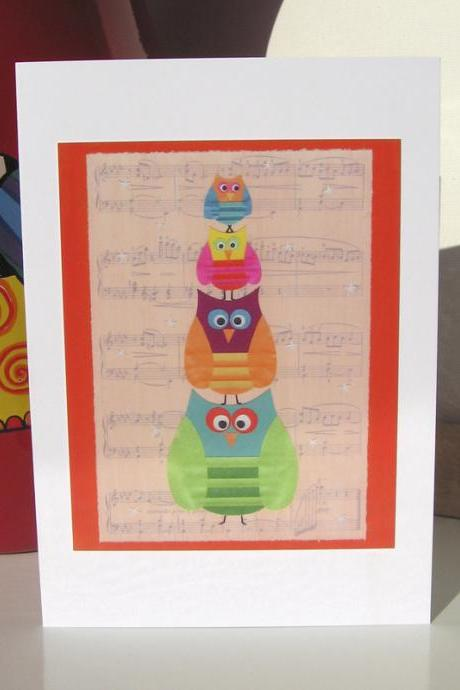 Greeting Card - Owl Musical Statues