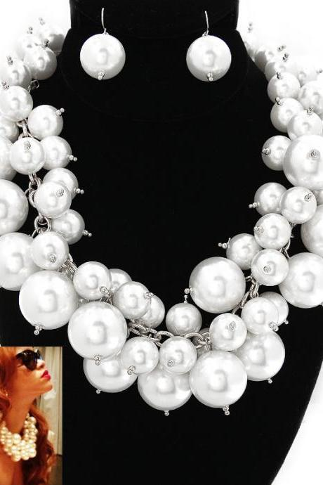 Big Bubble White Pearl Necklace, Celebrity Inspired Jewelry, Rihanna, Cluster Chunky Choker Statement Necklace