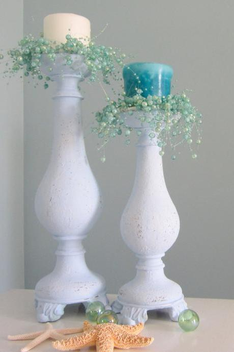Beach Decor Candlesticks - Nautical Cottage Shabby Chic Candle Stick Set of 2, Periwinkle