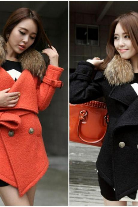 Elegant Faux Fur Design Woolen Winter Coat