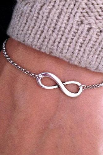 Silver Infinity Bracelet, Chain bracelet,Wedding Day, Anniversary, Birthday Gift, Adjustable wish bracelet