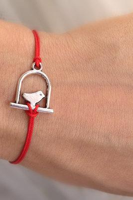 Silver bird bracelet, red rope bracelet, wish bracelet