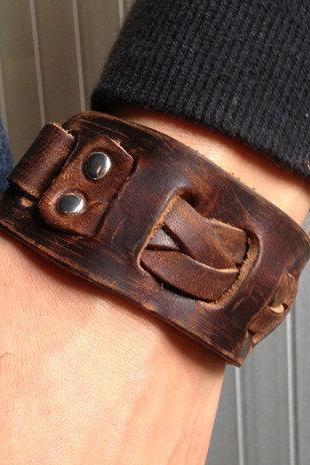 Men's Brown Leather Cuff Bracelet, Leather Wrist Band Wristband Handcrafted Jewelry