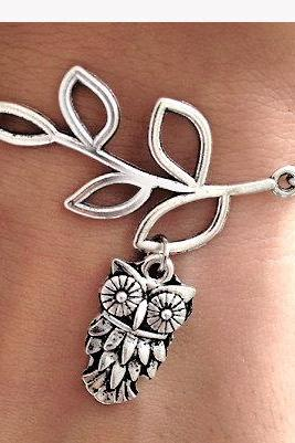 Silver Leaf branch,Owl Charm bracelet, Chain bracelet,leaf bracelet,Birthday,simple daily Jewelry,flower girl,birthday,Mom and baby