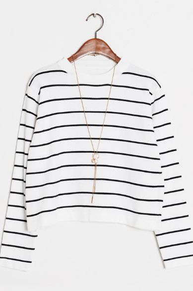 Striped Crew Neck Long Sleeves Cropped Pullover