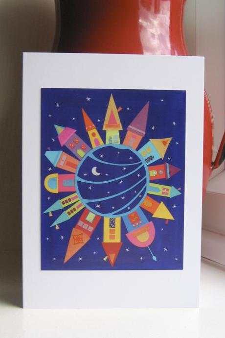 Greeting Card - The Town Around The Moon