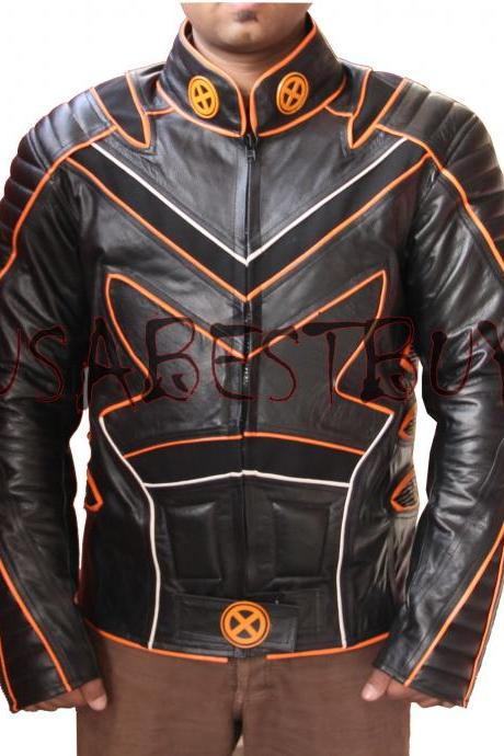 Handmade Custom New Men Latest XMen Style Biker Motorcycle Leather Jacket, men leather jacket, Leather jacket for men, Biker Leather Jacket, Motorcycle Jacket