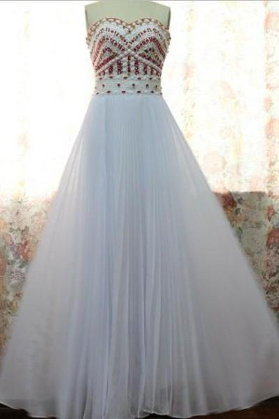 High Quality Chiffon Sweetheart A-line White Prom Dresses with Red Beadings,Pretty White prom Dresses, Prom 2015, Evening Dresses