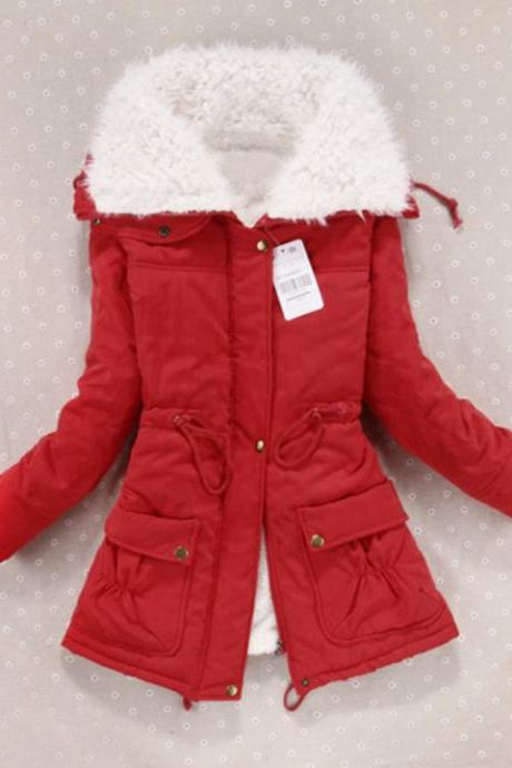 Womens Winter Thickened Ladies Cotton Padded Jacket Outerwear Coat