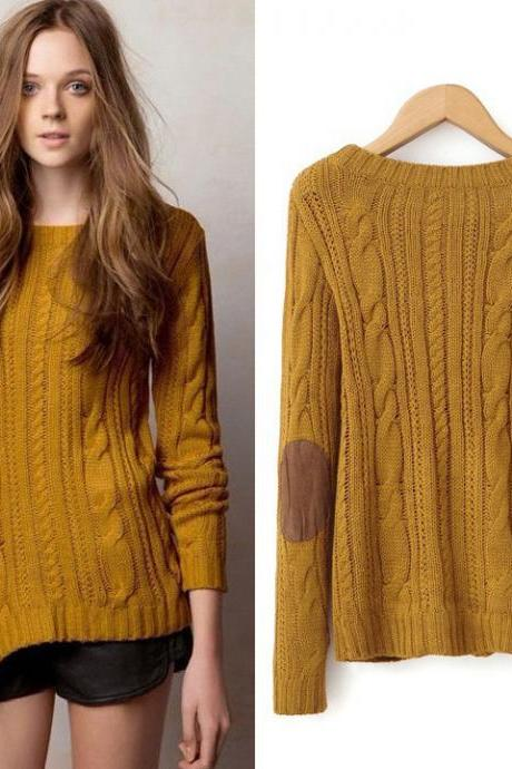 Women's Retro Twist weave Long Sleeve Knitting Shirt Sweater