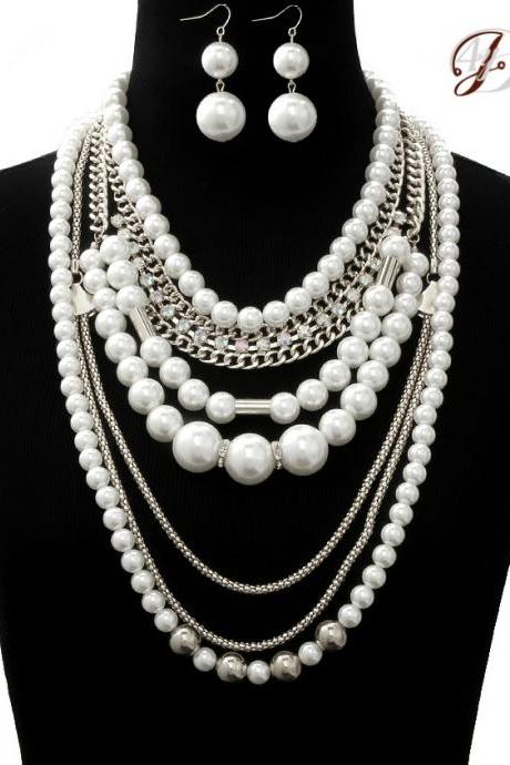 Long Pearl Necklace, Layered Silver Chain with Pearl and Crystal, Fashion Statement