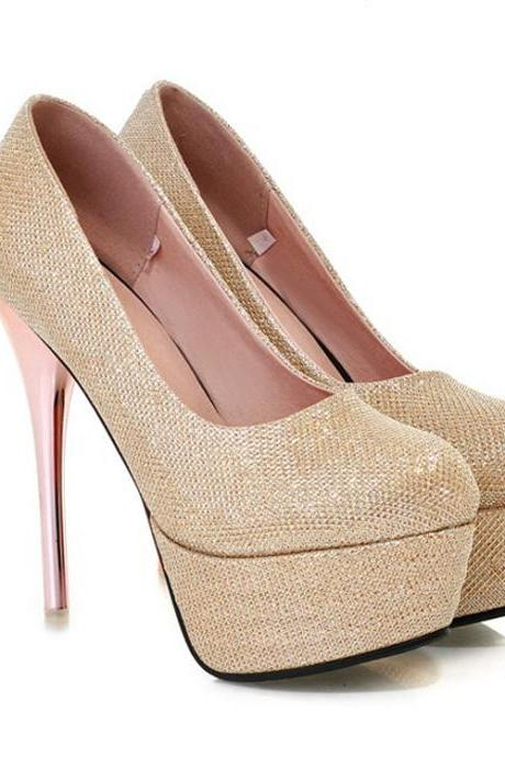 Classy Metallic Gold High Heels Fashion Shoes
