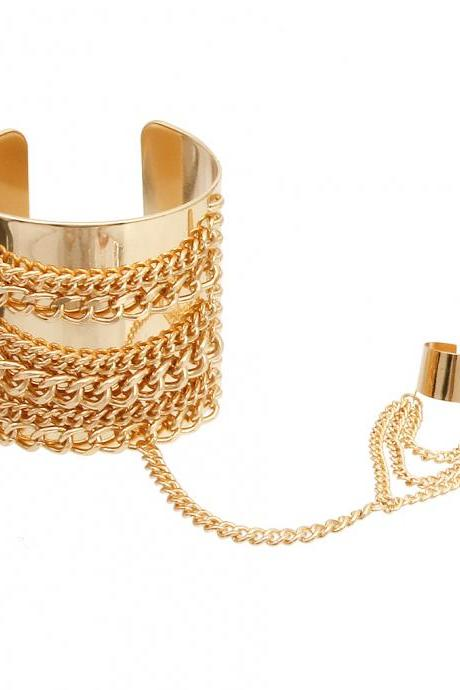 Bracelet with Rings, Gold Cuff Slave Bracelet, Ring Bracelet, Hand Chain