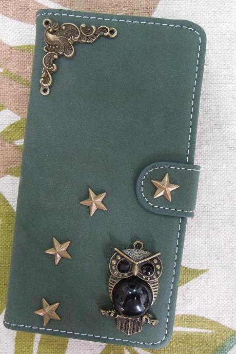 iPhone 6 Wallet Case/iPhone 6 Plus Wallet Case-OWL/Star/Plant Studded Army Green iPhone 6/6 Plus Wallet Case-Credit Card Case