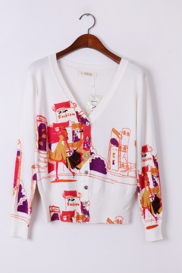 Women's self-cultivation basic knit shirt cardigan