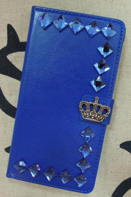 Samsung Galaxy Note 4 Wallet Case-Crown/Stone studded Royal Blue Samsung Galaxy Note 4 Wallet Case-Credit Card Holder