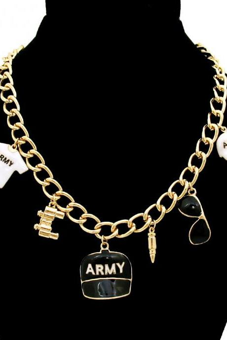 Army Charm Necklace, Gold Chain with Black and White Army Charm