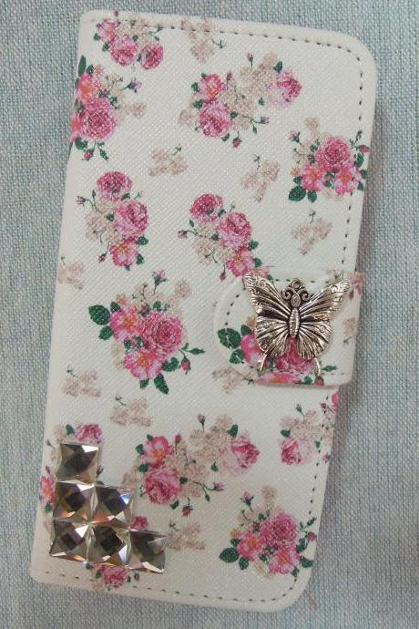 iPhone 6 Wallet Case/iPhone 6 Plus Wallet Case-Butterfly/Stone Studded Flower Pattern iPhone 6/6 Plus Wallet Case-Credit Card Case