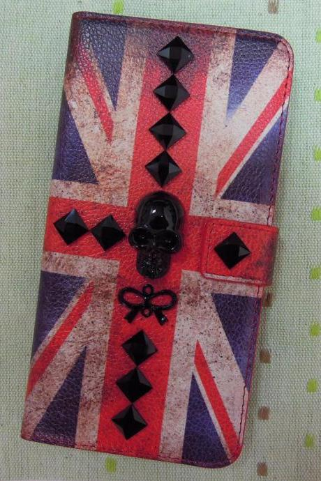 iPhone 6 Wallet Case/iPhone 6 Plus Wallet Case-Black Skull / Ribbon/ Stone Studded The Flag of UK Pattern iPhone 6/6 Plus Wallet Case-Credit Card Case