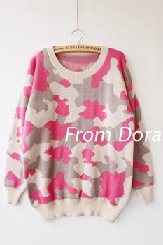 Many paintings thickened loose knit dress