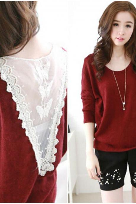 Cute Lace V Back Wine Red Long Sleeve Top