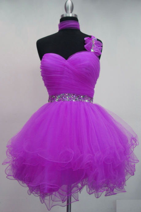 Lovely Purple Mini Tulle Ball Gown Homecoming Dresses with beadings, Handmade Mini Purple Prom Dresses, Homecoming Dresses, Graduation Dresses