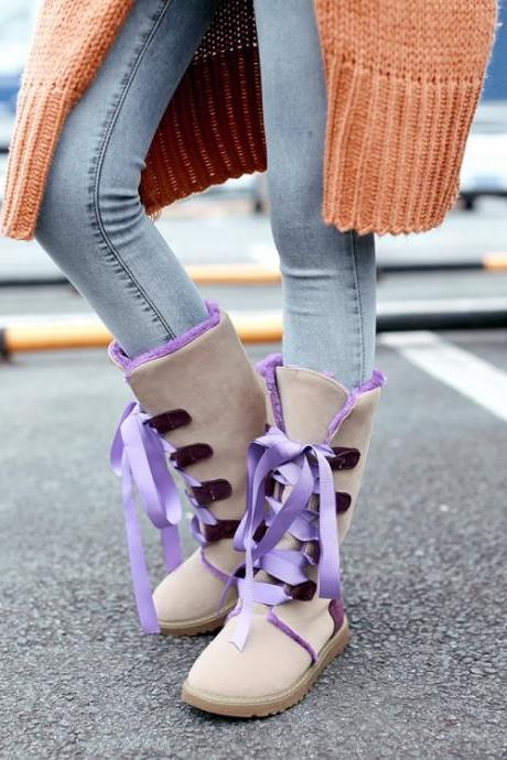 Adorable Purple and Apricot Lace up Winter Boots