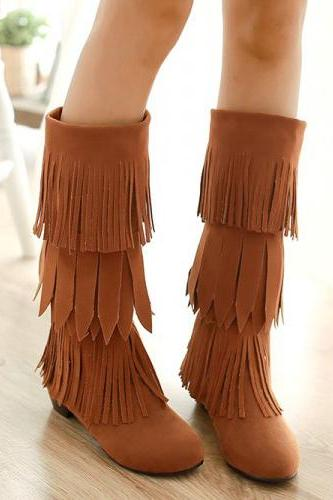 Tiered- Fringe Knee-Length Suede Boots
