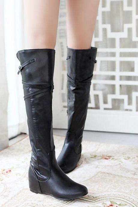 Mid Heel Slip On Black Patent Leather Martens Boots