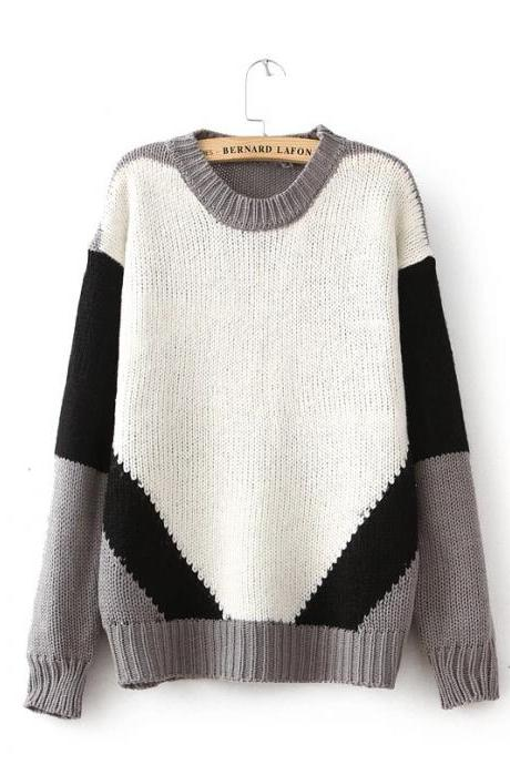 Geometric spell color sweater round neck long-sleeved sweater BH1127B